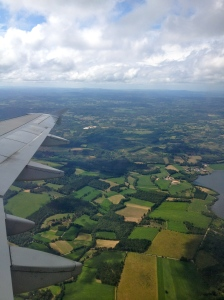 PIcture out of window flying over Santiago de Compostela