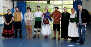 Dressed in traditional wear for a Galician dance and music class