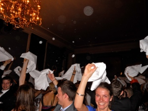 "Waving the ""hats"" that we made out of napkins at the Gasque, our nations dinner"