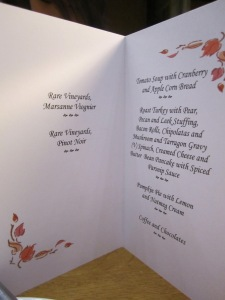 The menu for the evening, at our Thanksgiving celebration at St. Catz, Oxford
