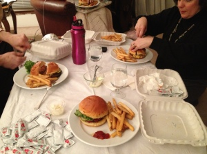"Last ""American"" dinner with my family, the evening before leaving for Switzerland"