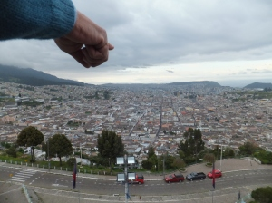 My host dad pointing out the historical churches of Quito's Old Town, after climbing to get a better view of the city