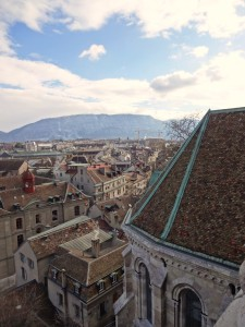 View of Geneva from the top of the church! Made possible because of gorgeous weather