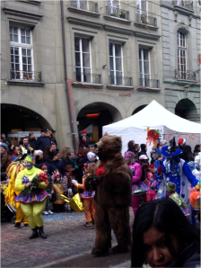 The carnival parade starts when the bear comes marching through the street!