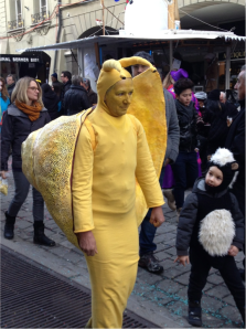 Probably my favorite site at Carnaval was this lady, who was dressed like a snail and walking at the same speed as a snail (despite kids throwing confetti at her the whole time).  A good idea of the carnival atmosphere