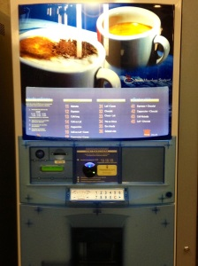 A brand new concept for me: coffee vending machines, right in my university!