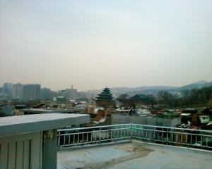 A view of the Gyeongbok Palace and the City of Seoul from my first week