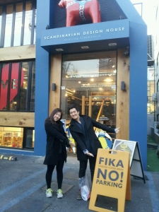 My Korean friends who I met in Sweden - Teasung and Suji (Eun Chong left before we took the picture) - in front of the Fika place, where we enjoyed a typical Swedish tea time