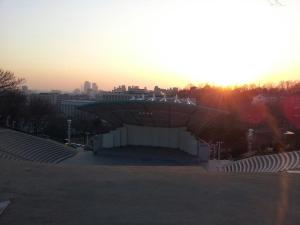 The outdoor stadium at Yonsei University