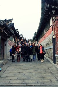My tour group in one of the most popular streets in Bukchon Hanok Village in Seoul