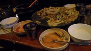 Seafood pancake and makkoli, a Korean food that I really like!