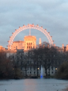 London Eye, a ferris wheel built in celebration of the millennium, from Buckingham Palace