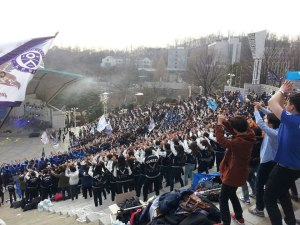 Yonsei students dancing to one of the cheering songs at a cheering competition