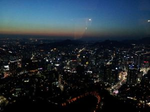 View on the City of Seoul from the N Seoul Tower one of the biggest tourist destinations in Seoul