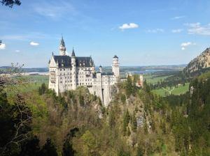 Breathtaking scenery of Neuschwanstein castle and the Bavarian landscape.