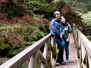 ​Me with our guide Mimi on a bridge in the Black Forest.