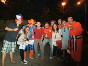 We made some Dutch friends outside the stadium