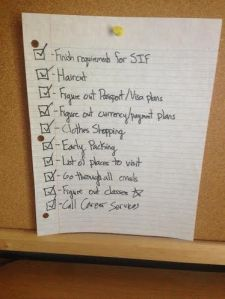 With this checklist completed, I feel ready to take on my semester abroad!