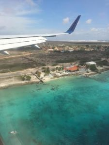 The brilliant waters of Bonaire greet me as we begin to descend!