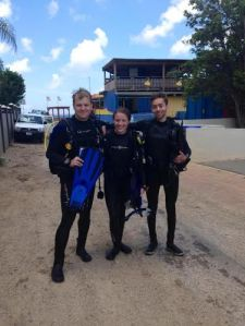 Congrats to Graham, Allison, and myself for completing our Open Water certification! We are the three newly certified divers!
