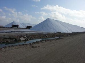The piles of sea salt at Cargill Salt Works