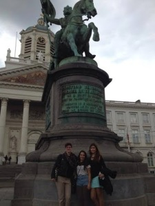 ​My new friends and I outside of the Royal Palace of Brussels