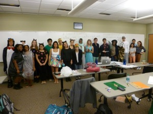 ​Last Halloween, my organic chemistry class received extra credit for showing up in costume. I'm in the light blue dress in the middle as Danaerys Targaryen from Game of Thrones.