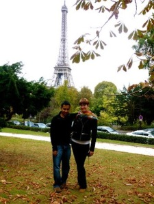 ​Masnoon and I ending our trip with the Eiffel Tower in the background :)