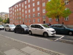 The cars in Denmark are very small compared to most you see in the United States.