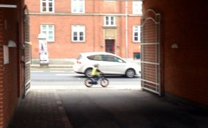 A tiny boy riding a tiny bike outside of my dorm. There's a school or kindergarten right next door so I see lots of children around drop-off and pick-up times. Sorry the picture's a little blurry!