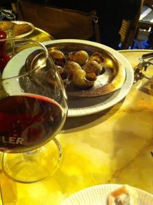 Escargot and wine