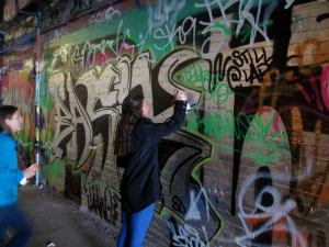 This was one of the stops on my bike tour. This was at the Leake Street Tunnel where graffiti art is legal!
