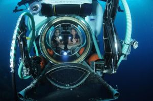 My buddy Graham and I smiling out the glass dome of the sub.