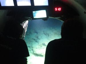 A view from inside the sub looking out at the reef. Note the depth of 510 ft!