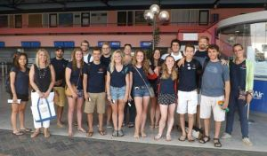 The group of students and professors at Flamingo International Airport ready to hop over to Curaçao at 6:15AM.