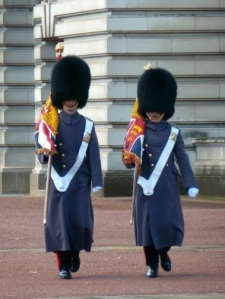 ​It was gorgeous weather in London but these men continue wearing their bearskin hats.