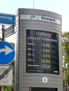 These track levels of different chemical pollutants that are in the air and gives a green, yellow, or red light depending on the air quality. Freiburg gets all green!