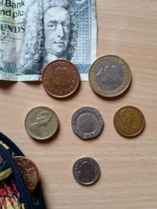 Can you guess the amount? From left to right it's 2 pence, 2 pounds, 1 pound, 20 pence, 1 pence, and 5 pence.