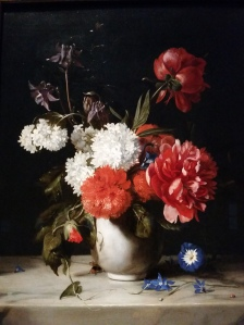Flowers in a White Stone Vase (1671) by Dirck de Bray. One of my favorite pieces in the gallery.