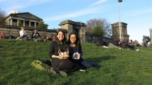 My friend Bec and I picnicking on Calton Hill