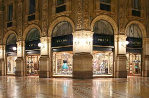 As the fashion capital of the world, there were plenty of designer stores throughout the city. Prada was begun in Milan, and this is the first ever store!