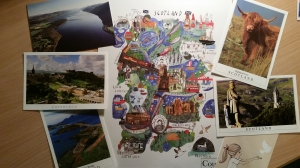 To me, these things are the best representation of what I experienced in Scotland. The map represents where I was, and each postcard represents my favorite things about Scotland.