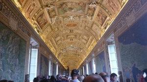 One of the many intricate ceilings at the Vatican Museum