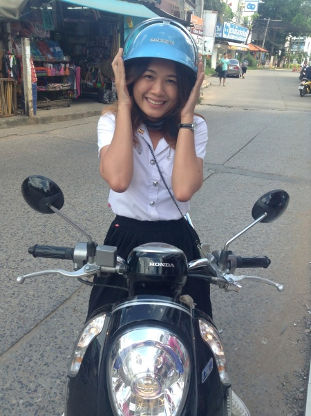 My Thai roommate, Yui, on her motorci