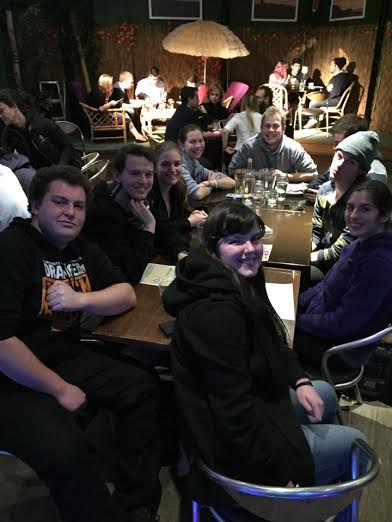 Me and a handful of quidditch mates at the Roxbury hotel. This was actually taken after my very first training at USYD. I'm in the purple jacket, and pictured clockwise are my friends: Kat, Cameron, Lachlan, Laurel, Nat, Tom, Lachlan, and Paul. Usually our table is two or three times the size!