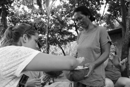 During the track, we stopped at a local farmer's home for some fresh coconut and fried bananas.