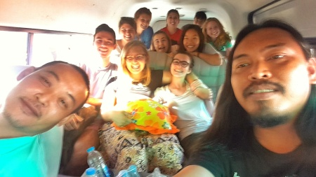 "The infamous ""wan"" ride with the DG ""wamily,"" including our translator and driver."