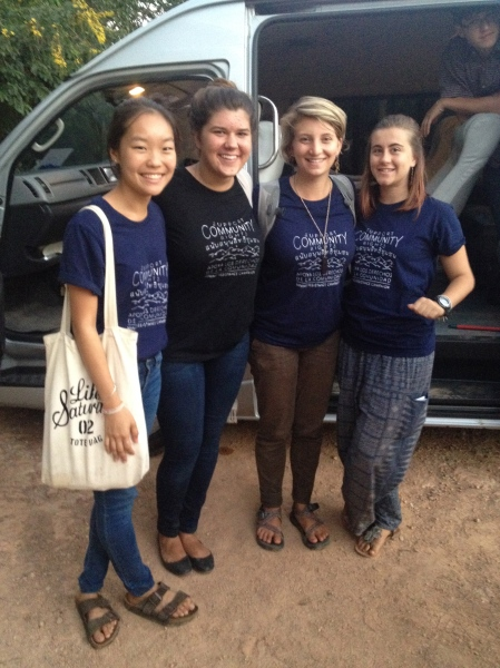 Kaori, myself, Elyssa, and Megan showing our support for Na Nong Bong, a community we exchanged with who is negatively impacted by a mine in their community.