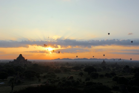 Over 2000 temples and pagodas cover the ancient grounds in Bagan. The hot air balloons took off just as the sun began to crawl its way out of the horizon. The combination of the balloons, the silhouettes of hundreds of pagodas, and the thin layer of mist that lurked over the land made it the most breathtaking sunrise I've ever seen.
