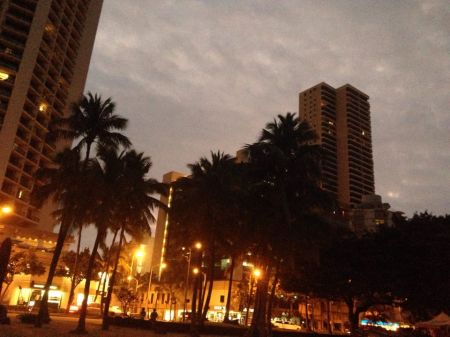 Waikiki before sunrise...and people